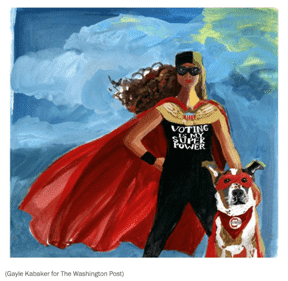 Graphic art of woman and dog wearing superhero capes