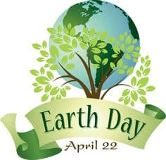 Earth and green tree with an Earth Day banner and the date April 22