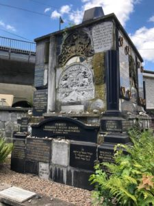 Memorial made up of broken headstones in Jewish cemetery in Poland