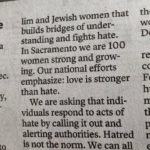 Op-ed text speaking up against hate in Sacramento