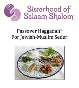 The Sisterhood logo and the words: Passover Haggadah for Jewish-Muslim Seder, and a blue and white seder plate with herbs, a shank bone, and an egg on it