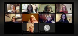 Zoom squares, headshots of women speaking over Zoom
