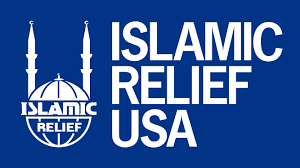 Logo of mosque with two spires and Islamic Relief USA in white against navy blue background