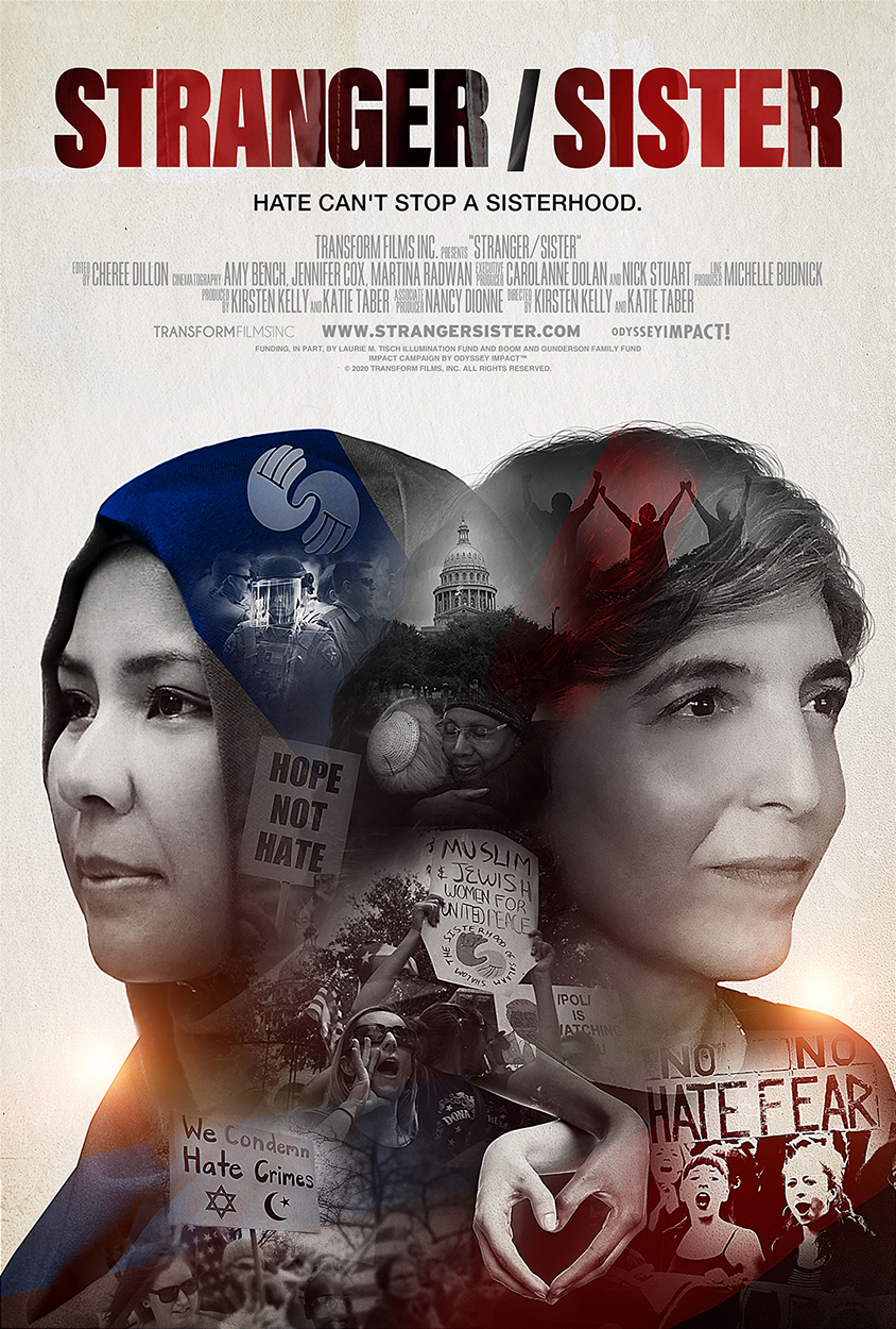 Stranger/Sister film title, two women's heads back to back, one in hijab, reflection of women at rallies and holding hands in their silhouette