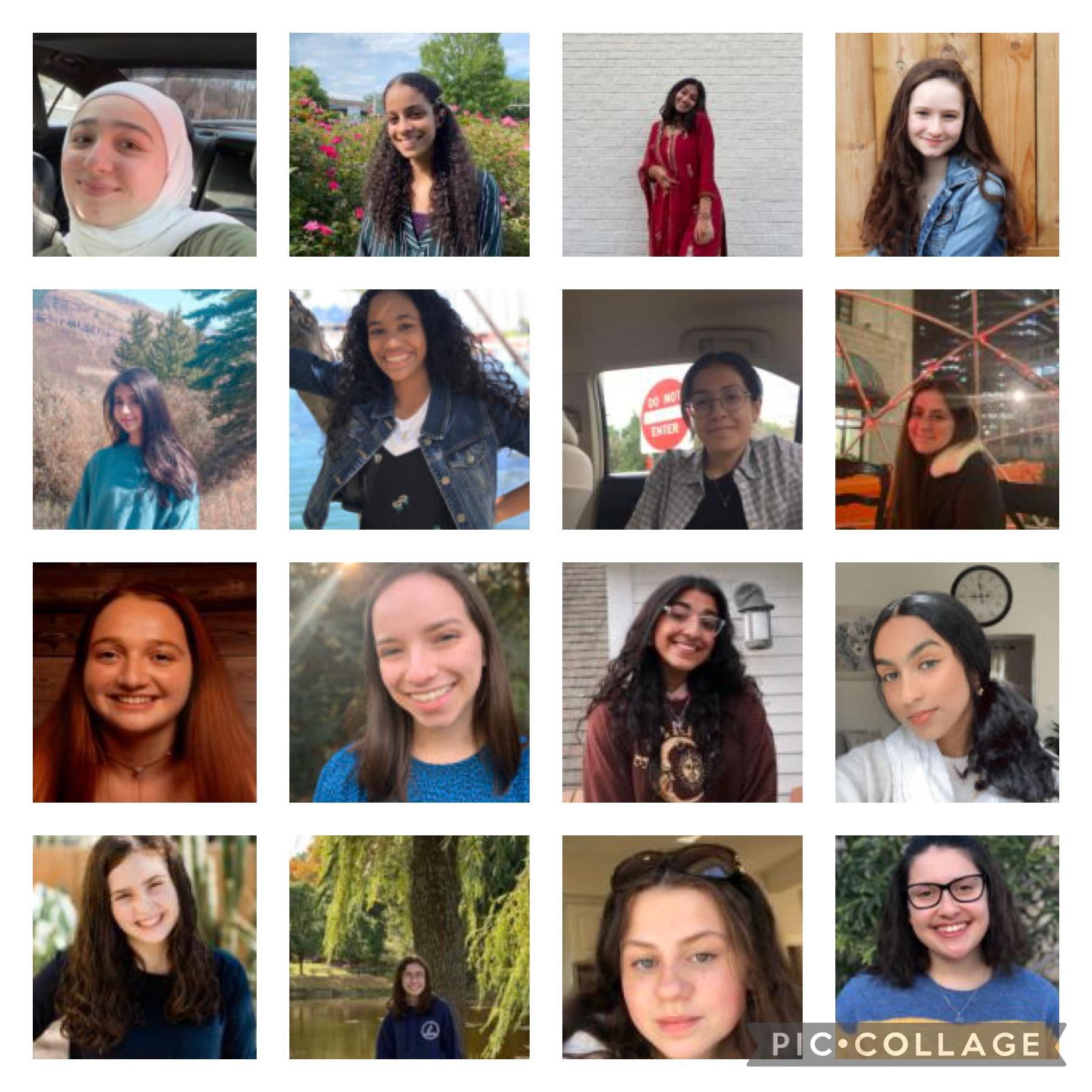 Collage of sixteen teen girl headshots